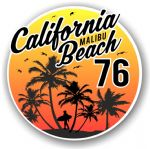California Malibu Beach 1976 Surfer Surfing Design Vinyl Car Sticker Decal  95x95mm